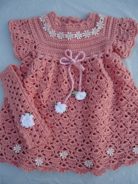 4171b77ef Crochet baby dress | Girl Crocheted Dress | Crochê bebê, Crochê ...