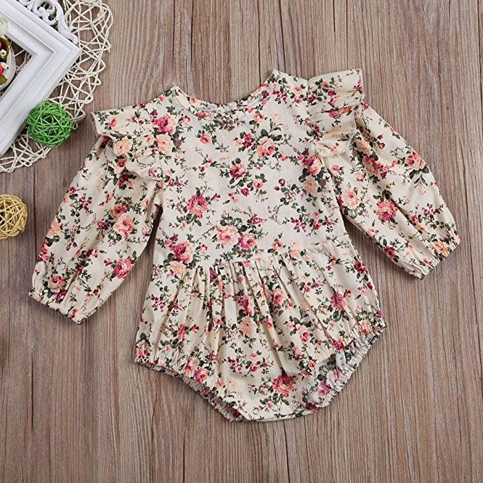 Infant Baby Girls Long Sleeve Ruffles Rompers Jumpsuit Clothes Bodysuit Outfits