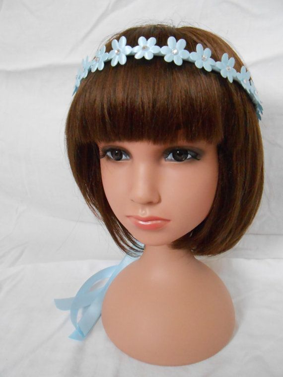Blue Daisy Flower Girl Headband Flowergirl Headpiece by FlowerFair