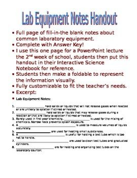 Lab Equipment Notes Or Handout With Answer Key With Images