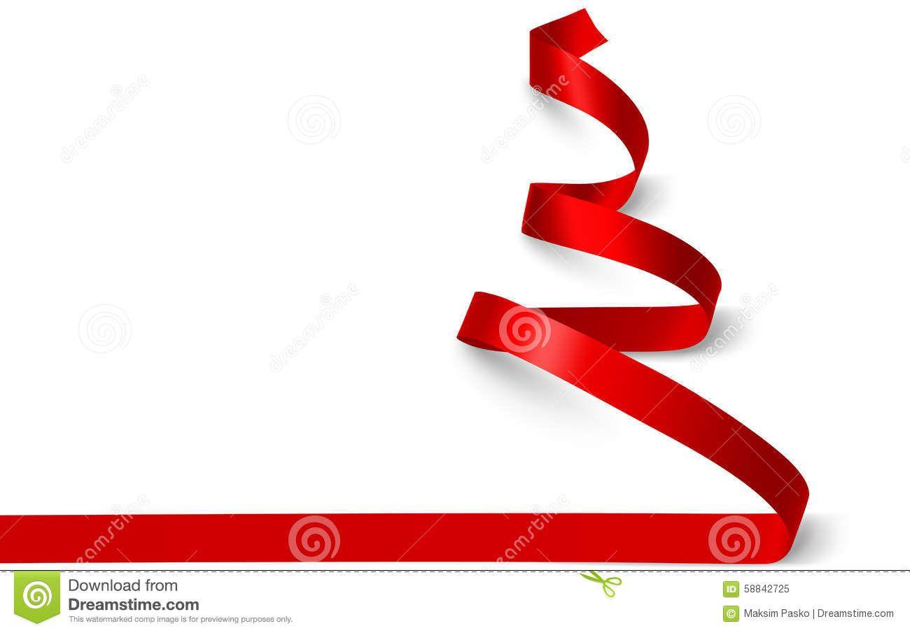 Christmas Tree Ribbon Vector Stock Vector Illustration Of Tree Card 58842725 Ribbon On Christmas Tree Christmas Tree Red Christmas
