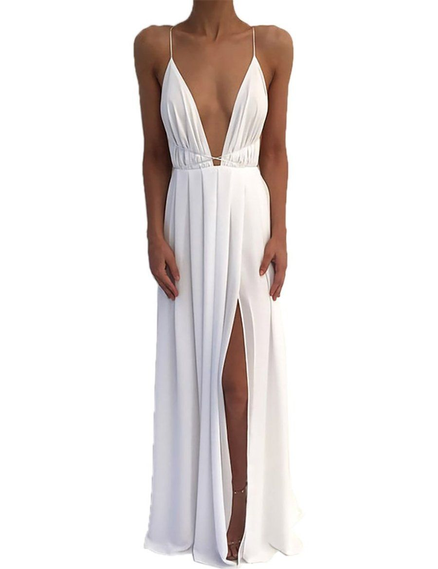 dc6bed50072 VintageRose Womens Chiffon Spaghetti Strap Deep V Neck High Slit Maxi Beach  Dress