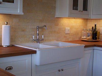 Apron Sink White Cabinets Butcher Block Countertops Limestone
