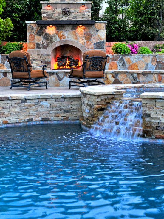 Breathtaking Pool Waterfall Design Ideas | Fireplaces, Swimming