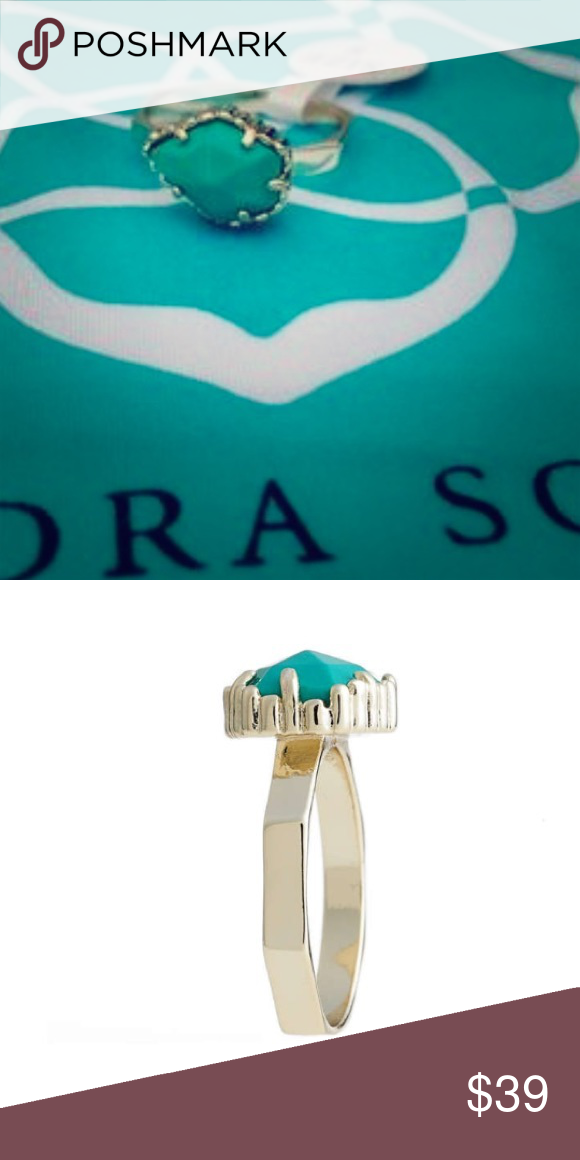 Kendra Scott Judy Ring in Teal & Gold (Size 8) Perfect ring for dressing up or just going out to lunch! Uses bold colors without making too much of a statement and looks sophisticated! Kendra Scott Jewelry Rings