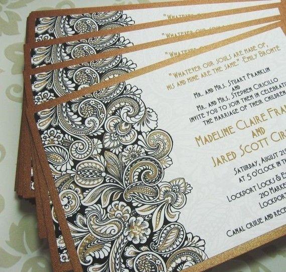Gold Paisley Wedding Invitations Black and White by dearemma 200