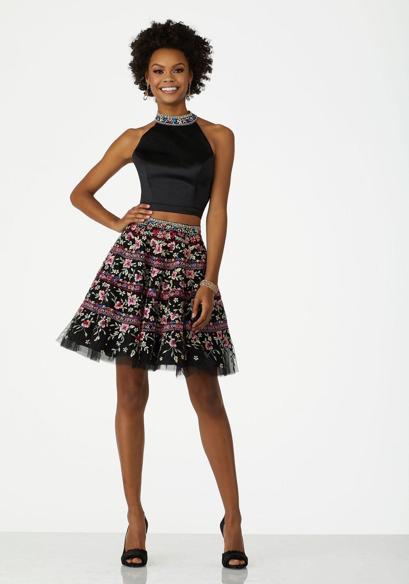 2020 Klos Abiye Elbise Kisa Gece Elbiseleri Siyah Halter Yaka Iki Parca Tul Etek Nakis Islemeli Elbise The Dress Tul Etek
