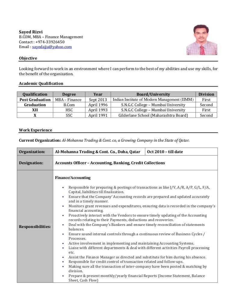 Image result for finance and accounting resume india