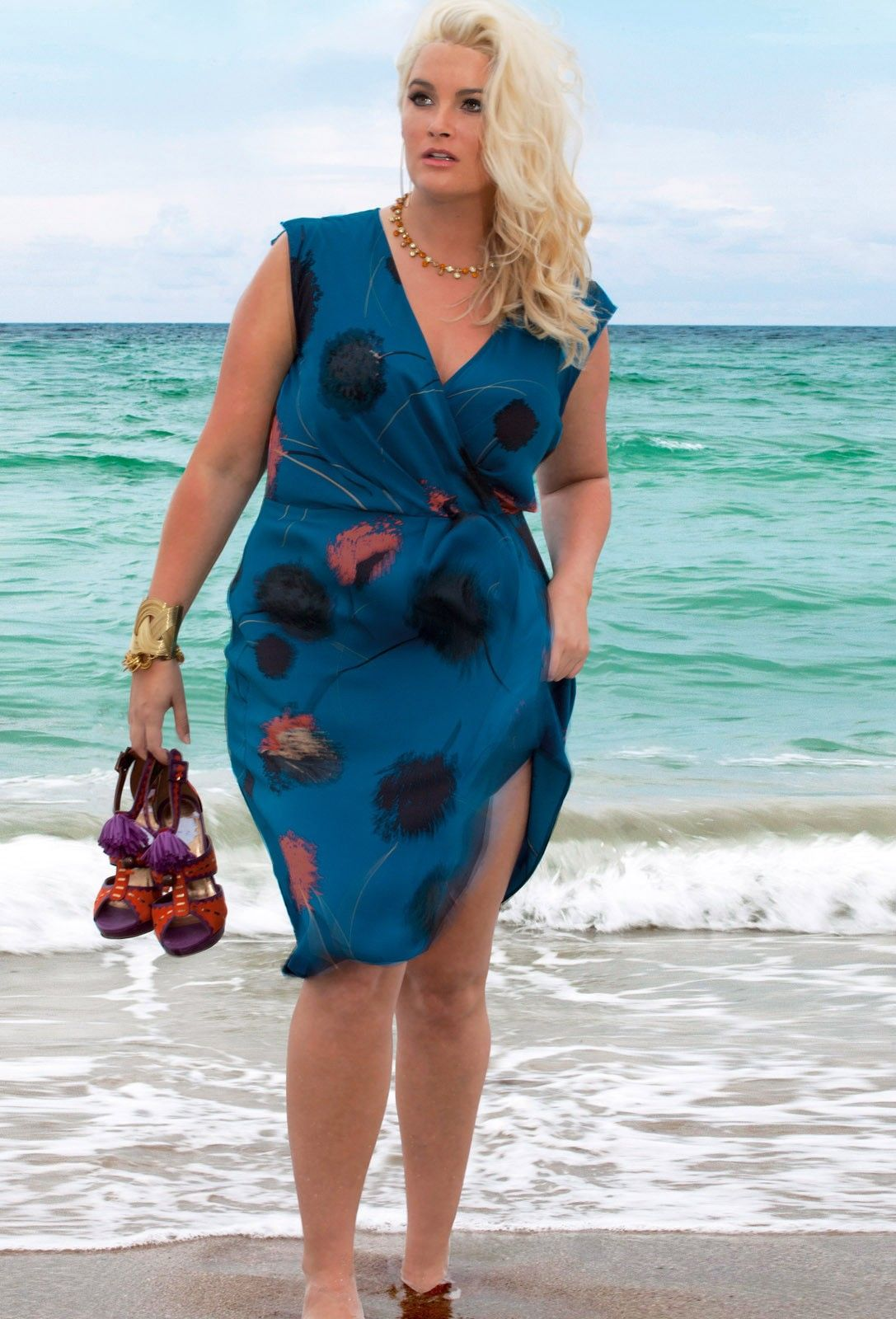 a97a5a15a58 plus size Double Silk Pleat Wrapover Dress in dandelion print