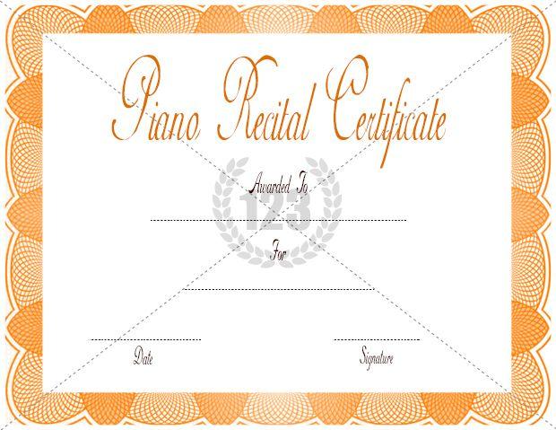 Piano recital certificate template download free or premium piano recital certificate template download free or premium certificate templates yelopaper Images