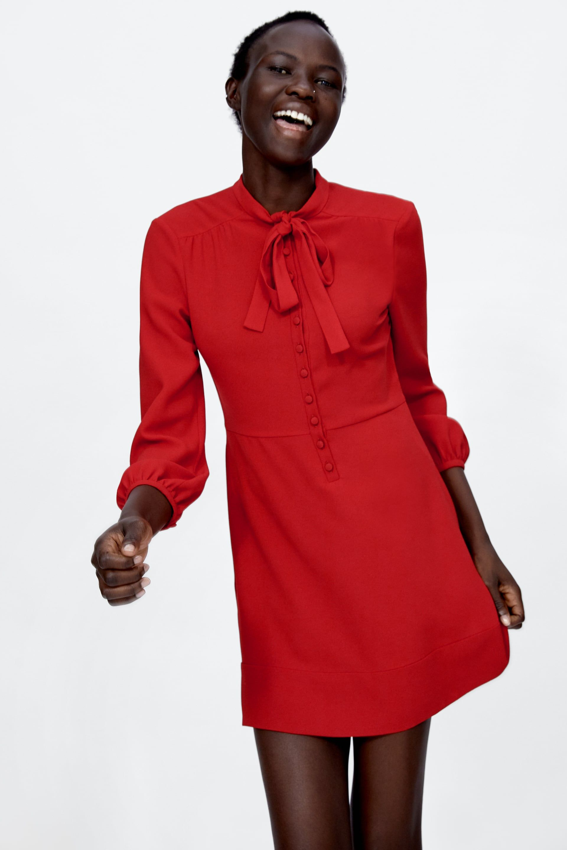 6591b9d7 Image 2 of MINI DRESS WITH BOW from Zara | Work Clothes | Dress with ...