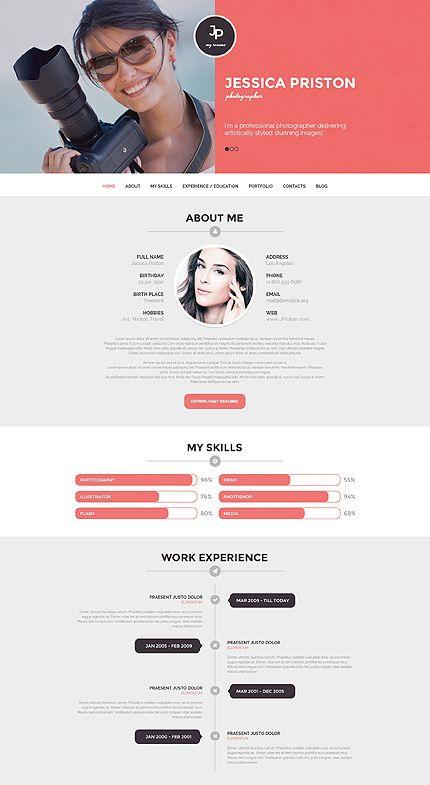 Photographer CV #WordPressThemes wordpress website template cv