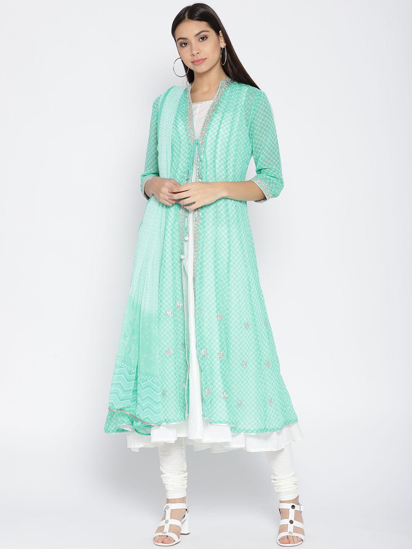 dda96628357 Biba Women Green   Off White Printed Kurta With Churidar   Dupatta - Kurta  Sets for Women 6845022
