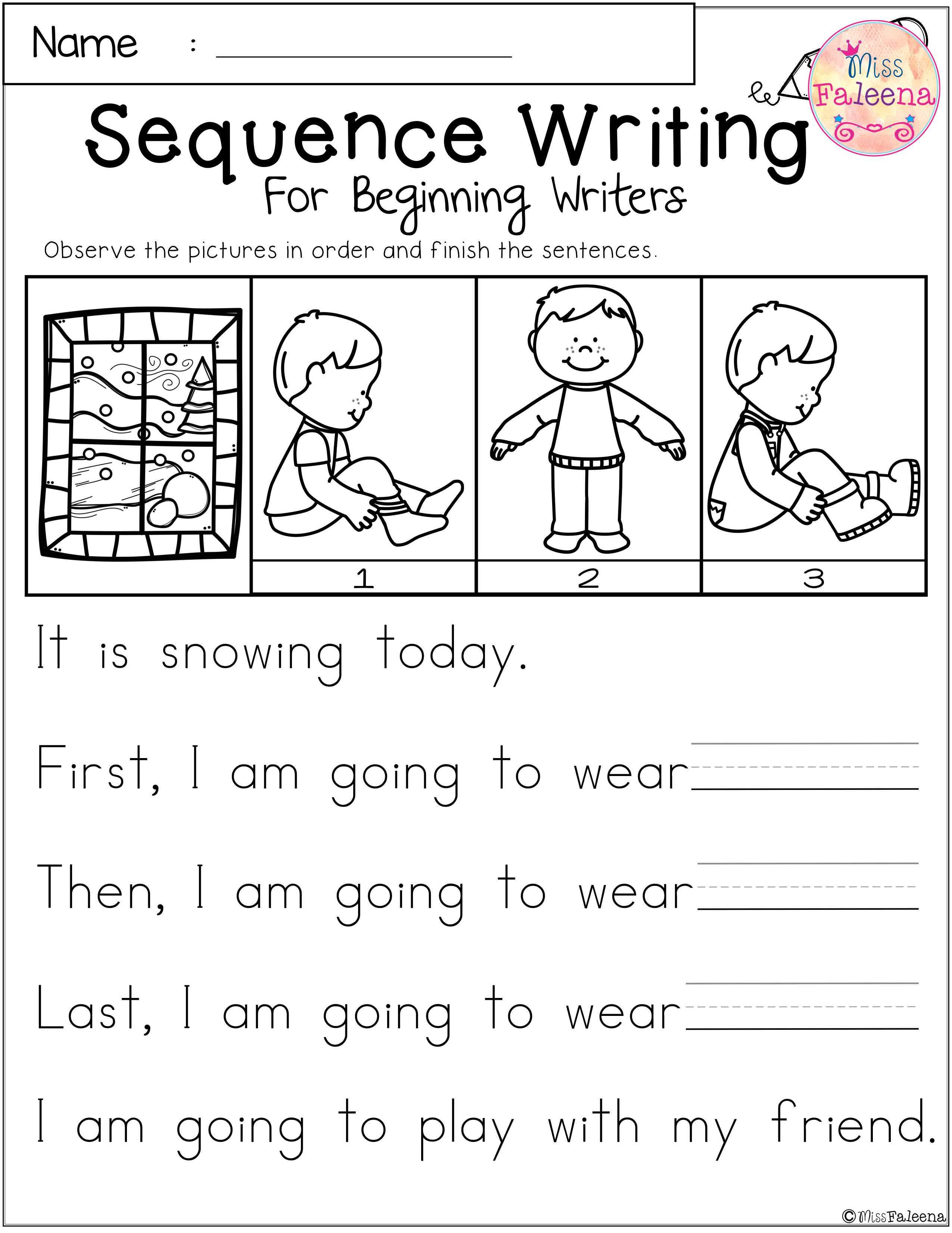 January Sequence Writing For Beginning Writers Sequence Writing Kindergarten Writing Sequencing Kindergarten