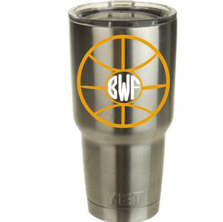 Basketball Monogram Vinyl Decal for Yeti Cup/Tumbler! by RedandthePug on Etsy