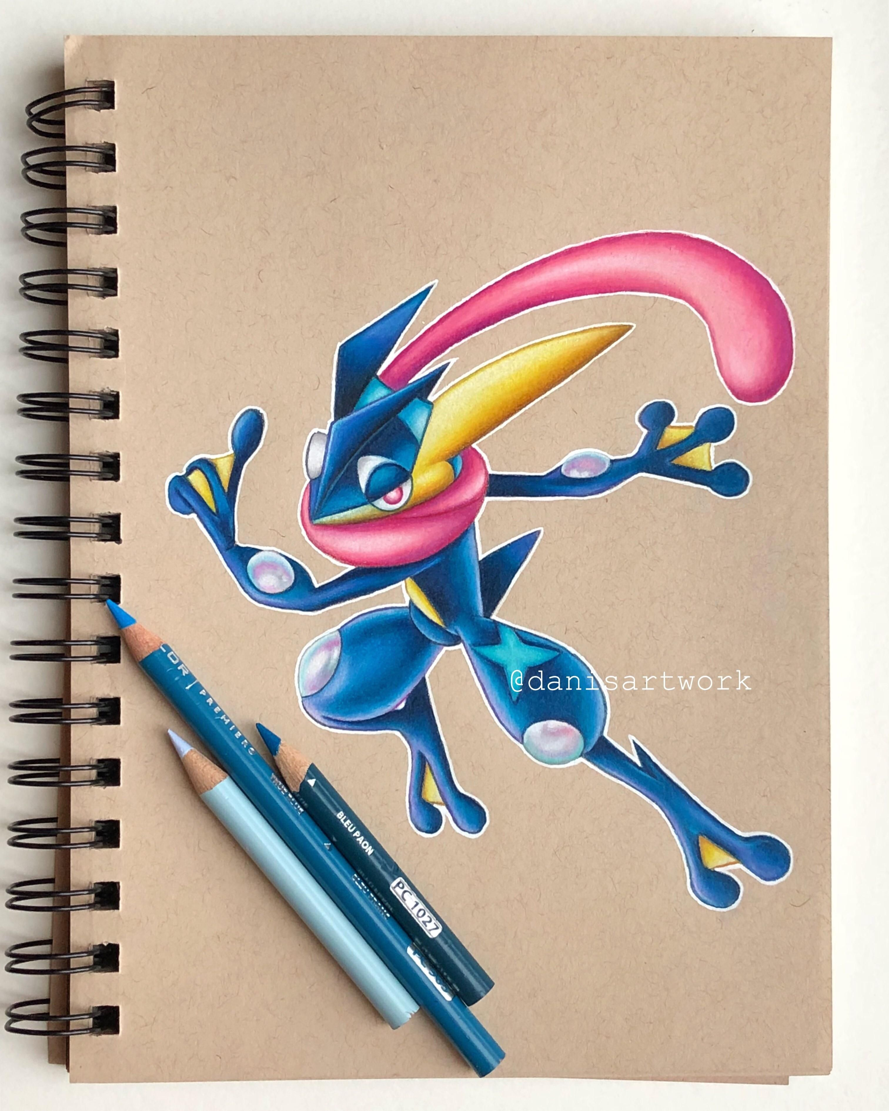 Finished my pencil crayon drawing of greninja from pokémon super