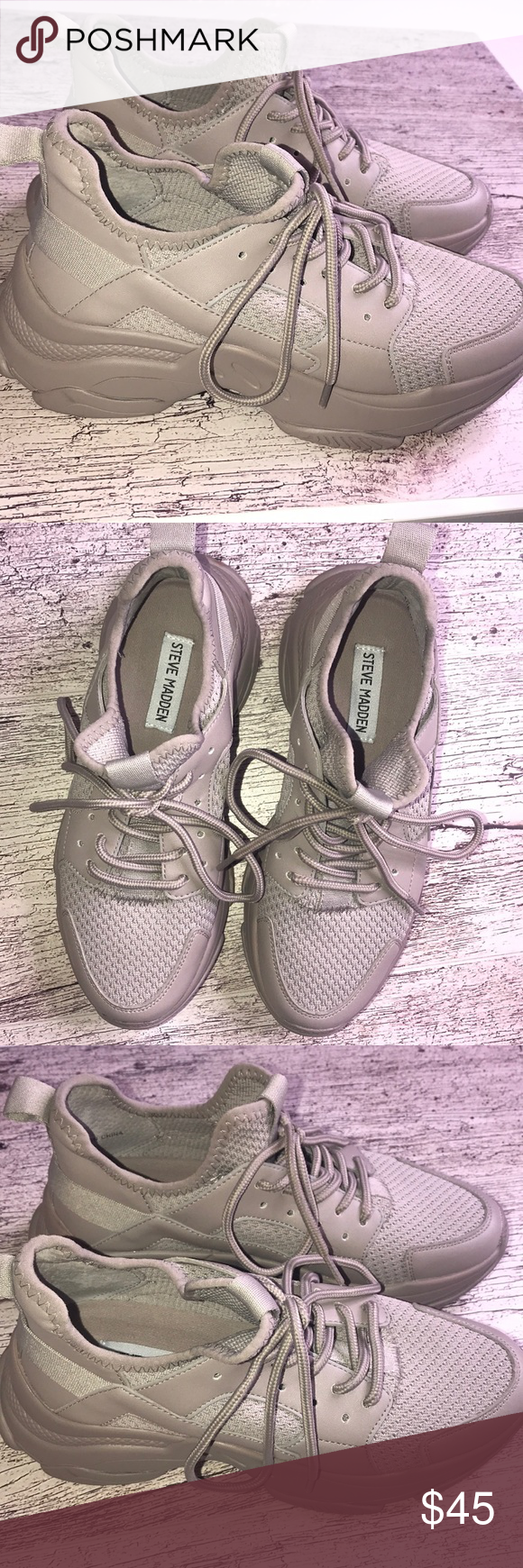 Steve Madden Myles Taupe tennis shoes