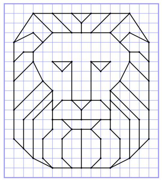 Reproduction Sur Quadrillage - Lion 2 | Dessin quadrillage, Dessin carreau, Quadrillage