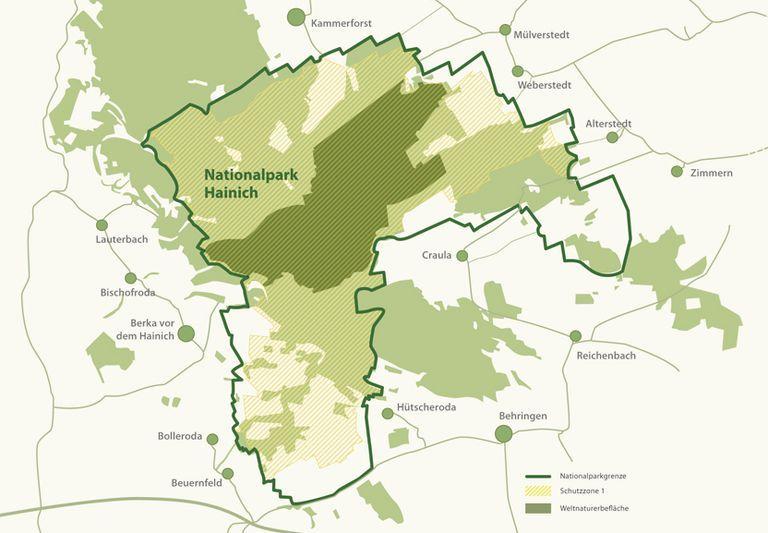 nationalpark hainich karte Karte vom Nationalpark Hainich mit den Schutzzonen