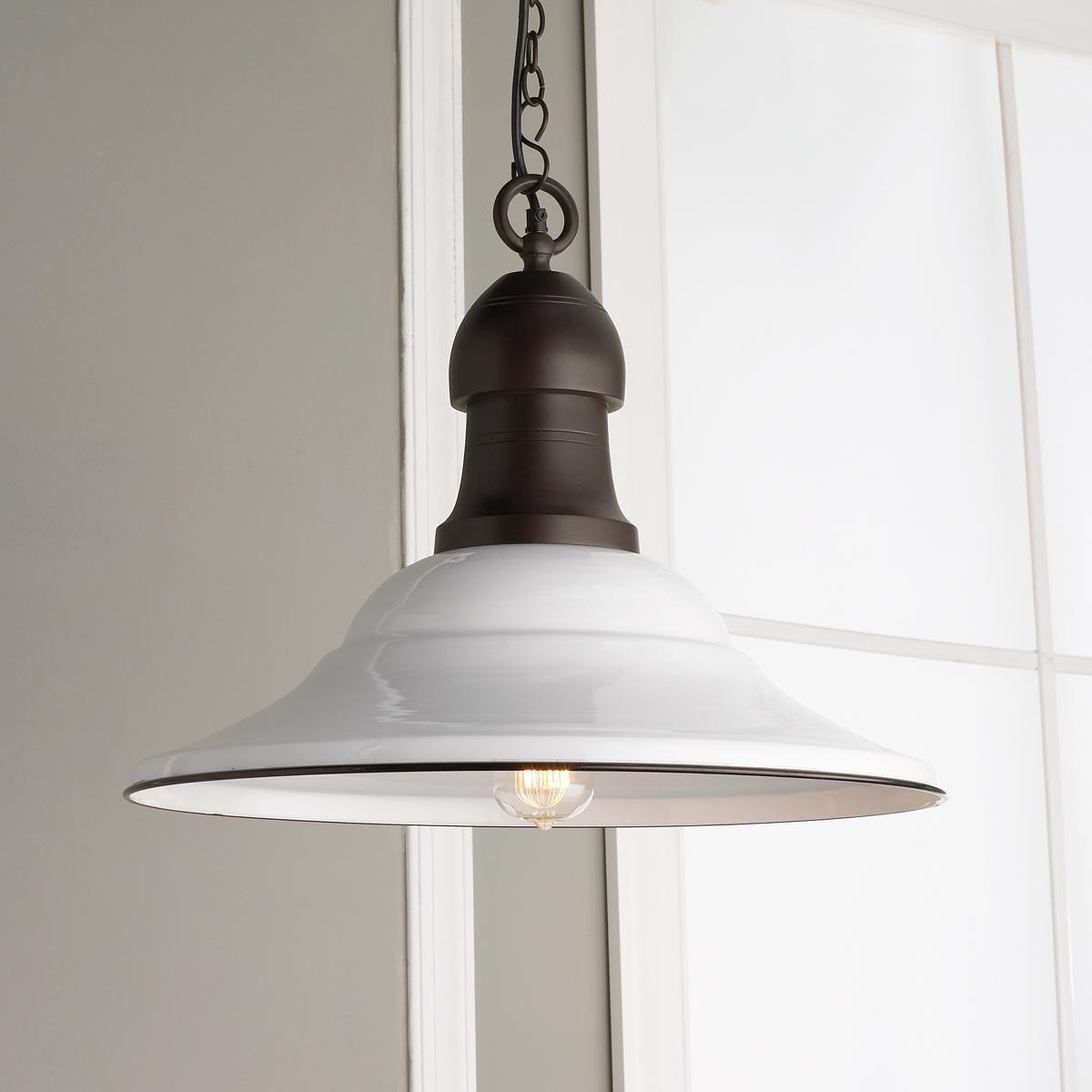 21 White Enamel Pendant Light Farmhouse Pendant Light Fixture