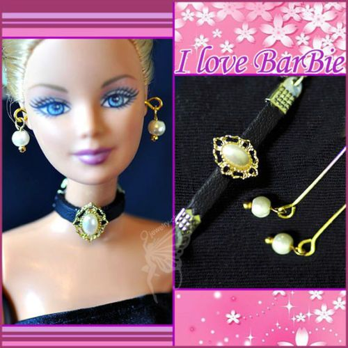 Handmade doll jewelry set necklace earrings for barbie doll