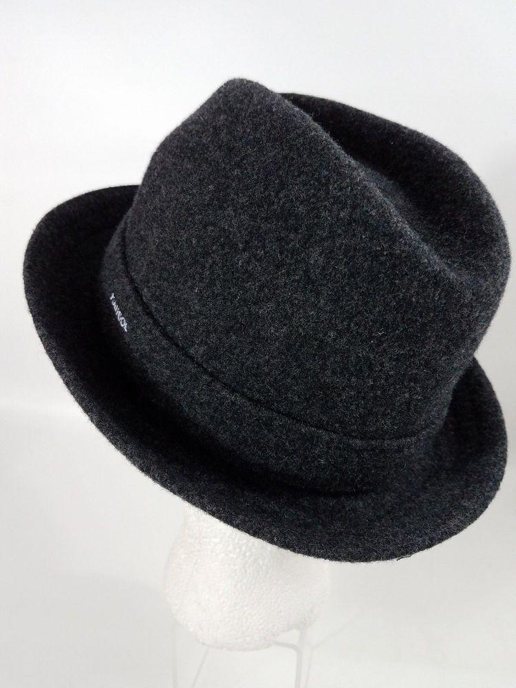 KANGOL  Hat Fedora Mens Size Small Dark Flannel Grey 100% Wool Player  Tribly  Kangol  Fedora fe98838910e2