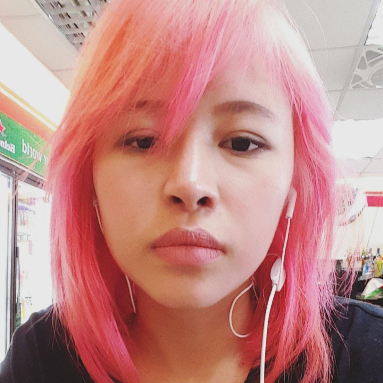Pink hair asian girl hair dyem colored hairm selfie  Selfie