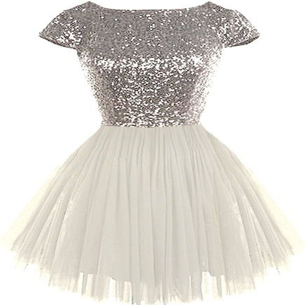 Silver sequin top white tulle cute homecoming dresses popular cheap