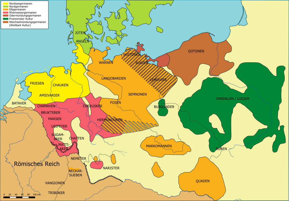 1st Century World Map.The Germanic Tribes Of Northern Europe In The Mid 1st Century Ad