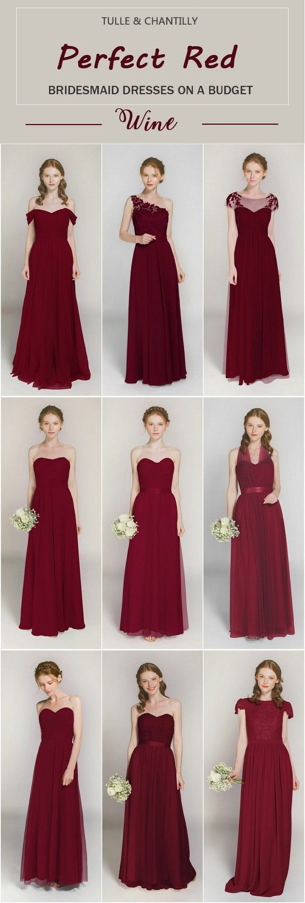 Wine Colored Bridesmaid Dresses | Burgundy Wine Maroon Red Bridesmaid Dresses Tulle Chantilly