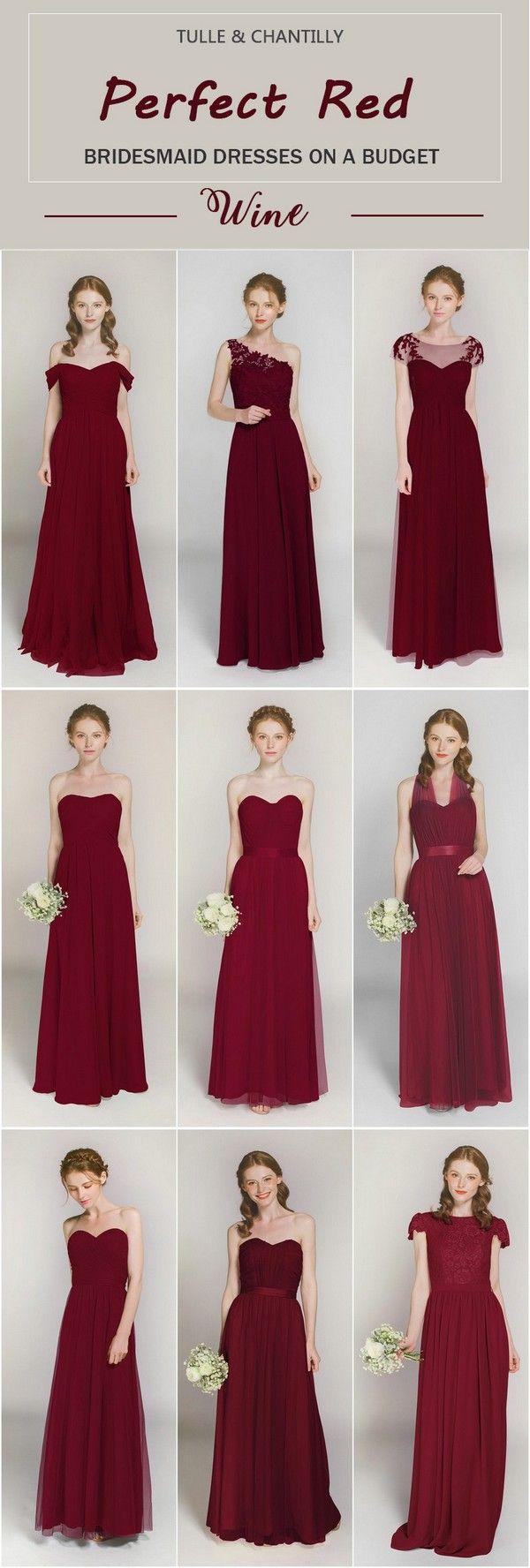 Burgundy wine maroon red bridesmaid dresses bridesmaid