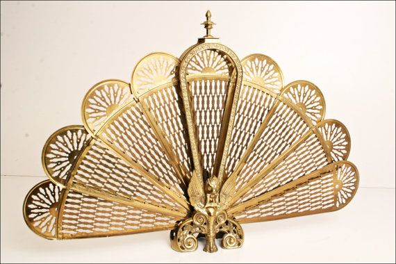 Vintage Brass Fireplace Screen Hollywood Regency Gold Peacock Fan