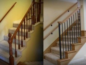 Change Carpet Wrapped Stairs With Wood End Caps Stair Remodel Banister Remodel Carpet Stairs