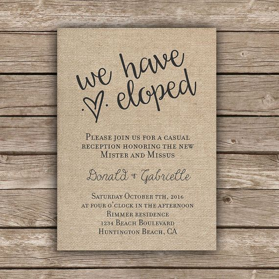 Small Wedding Ideas On A Budget: Printable Elopement Reception Invitation By