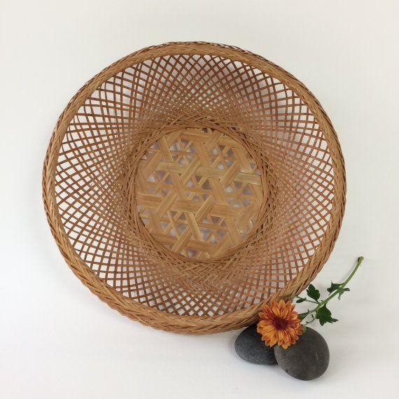 Wicker Wall Decor vintage bamboo rattan basket | boho wall decor | woven bamboo bowl