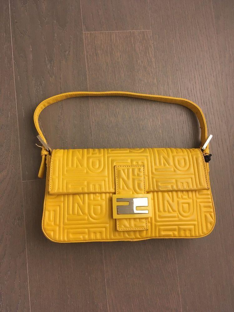 4c9ff715cd FENDI Yellow Logo Embossed Nappa Leather BAGUETTE BAG #Fendi #Shoulderbag