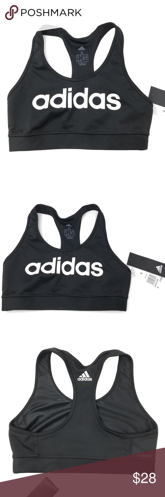 Adidas Black Logo Yoga Workout Sports Bra NWT 30 Boutique