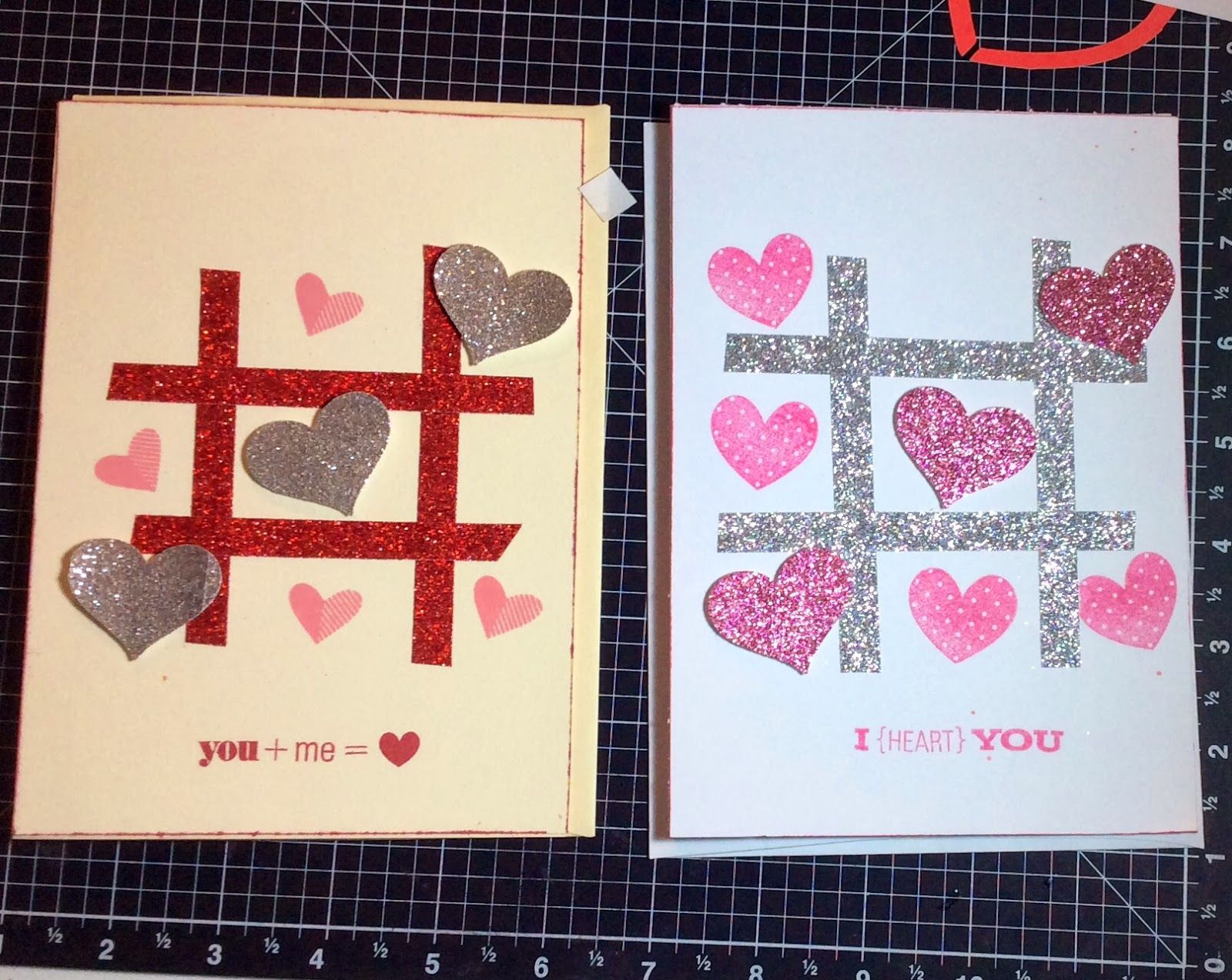 Tic Tac Toe Close To My Heart Valentine card with Glitter Paper