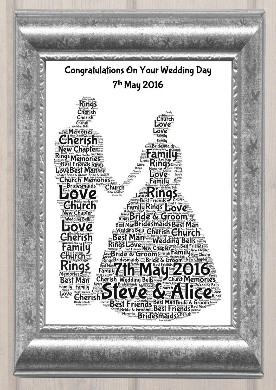 Wedding Couple Personalised Word Art Print Present Gift Ideas By SandraCraftyCardz On Etsy