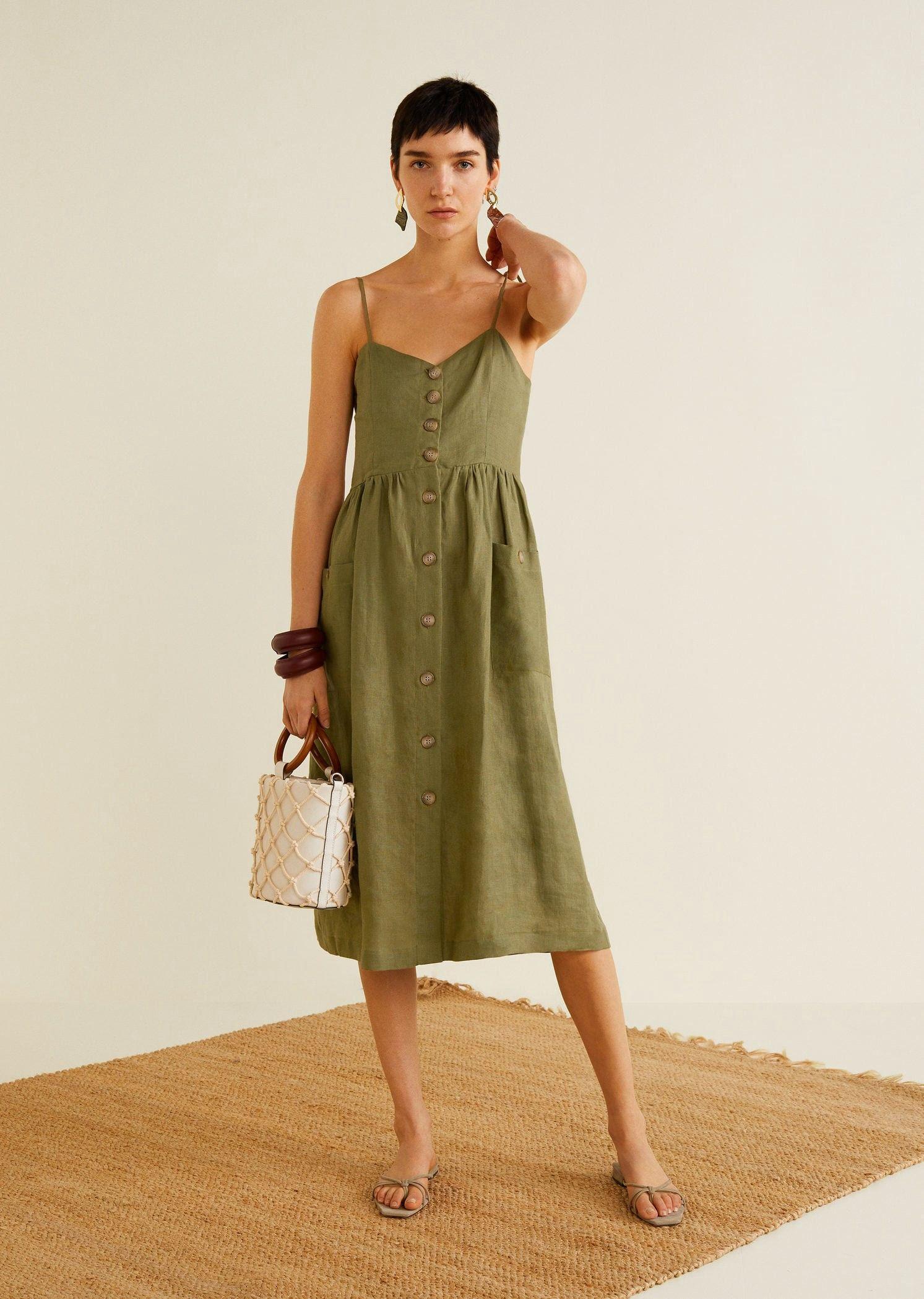 e4174d85f2bdba Mango Pockets Linen-Blend Dress - Khaki 4 in 2019 | Products | Linen ...