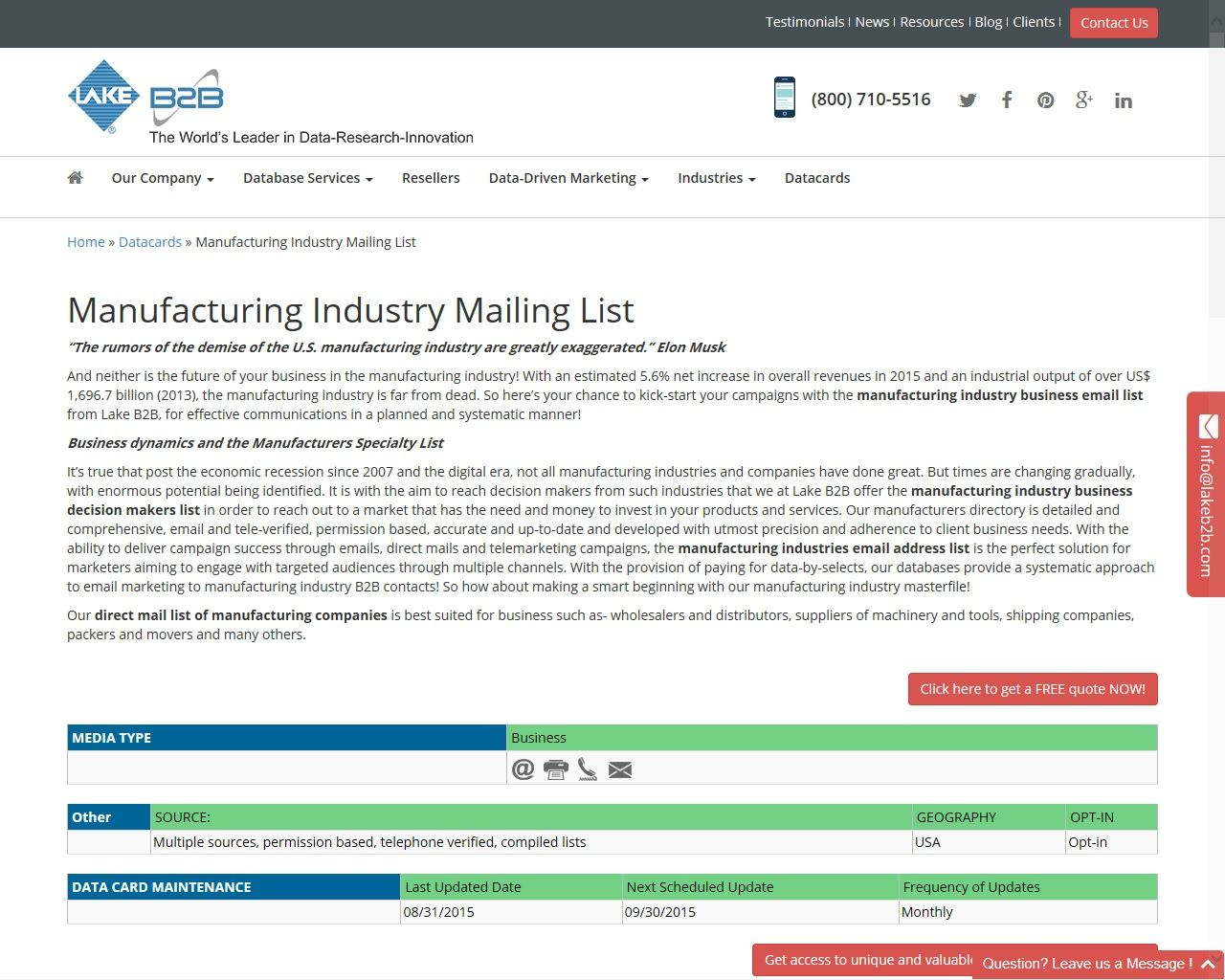 Manufacturing Industry Email List | Manufacturing Industry