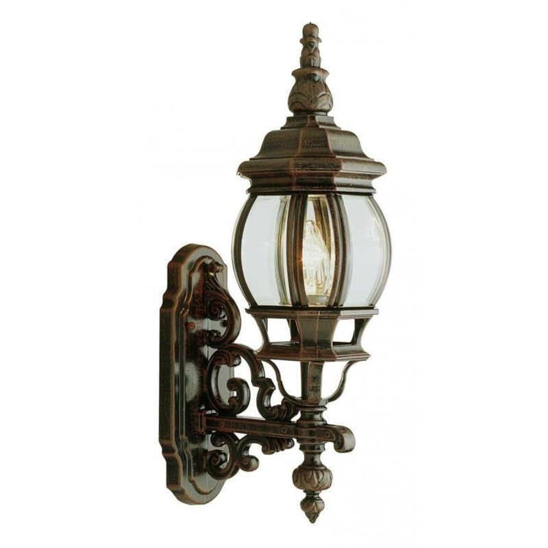 Cambridge Copper Finish Outdoor Wall Lantern With a Beveled Shade