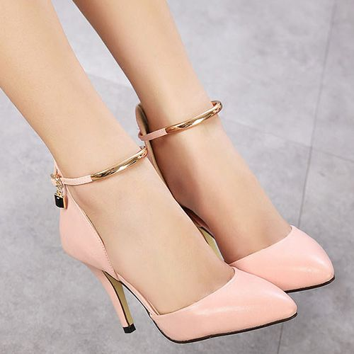 64f3696707 Fashion Pointed Closed Toe Metal Decoration Stiletto Super High Heel Pink PU  Ankle Strap Pumps