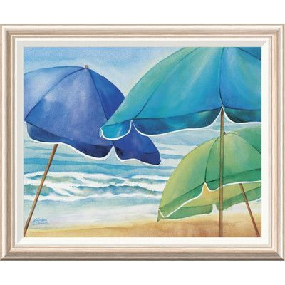 Global Gallery 'Seaside Umbrellas' by Kathleen Denis Framed Painting Print Size: