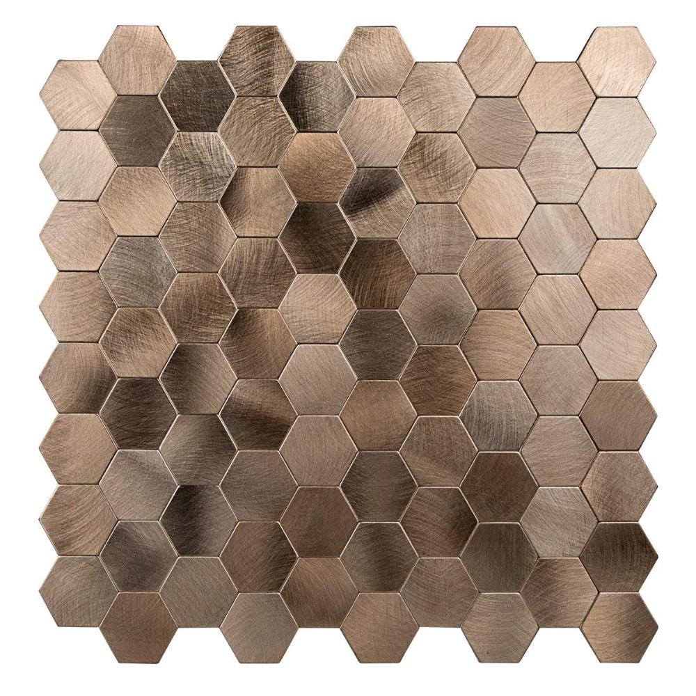 Amazon Com Decopus Peel And Stick Tile Backsplash Honeycomb Goldish Copper Stick On Metal Wall Tile Stick Tile Backsplash Copper Mosaic Tile Stick On Tiles