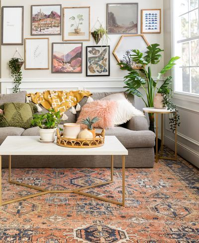 Luxe Coffee Table in 2020 | Feminine living room, Modern boho living room, Living room plants