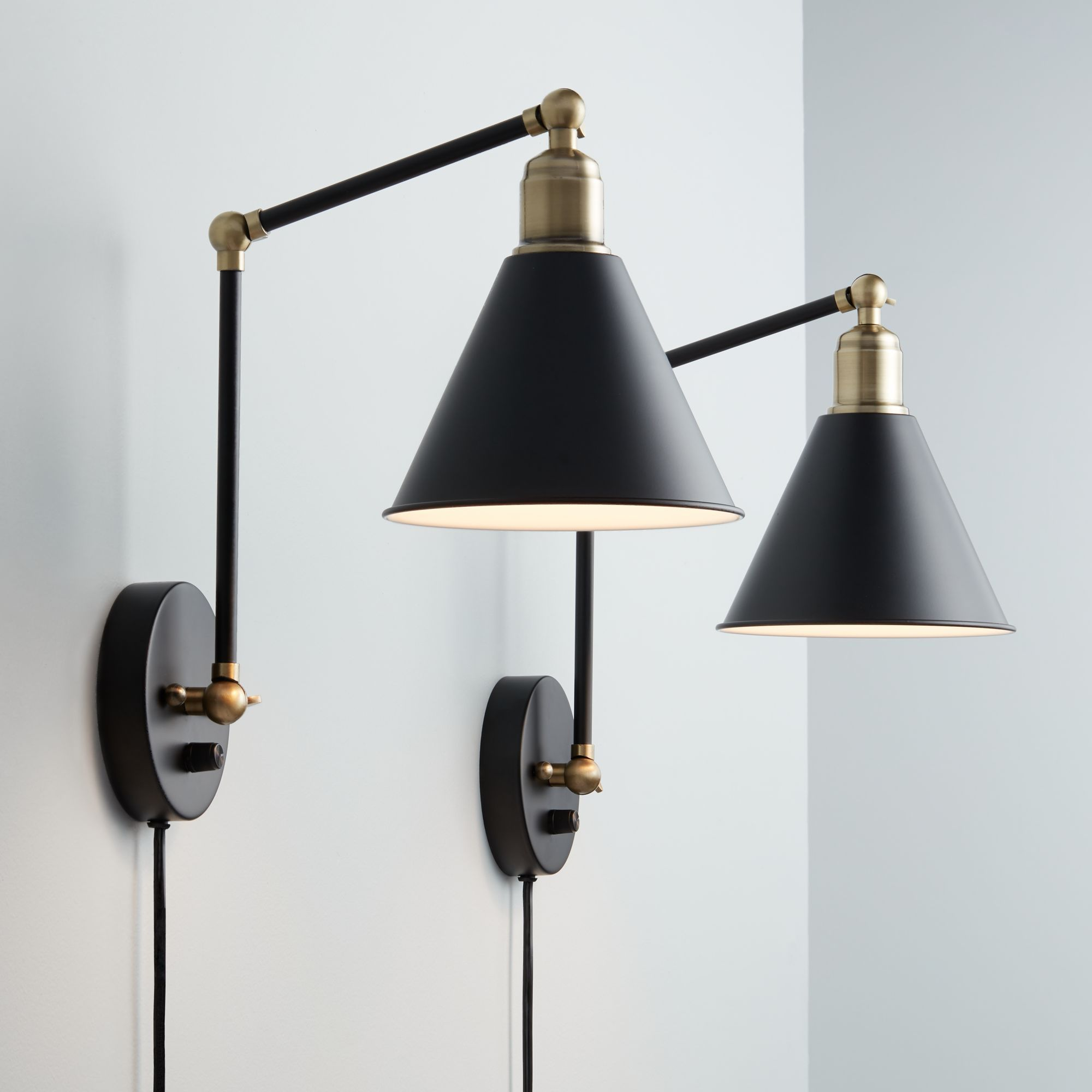 Free 2 Day Shipping Buy 360 Lighting Modern Wall Lamp Plug In Set Of 2 Black And Antique Brass For Bedr Plug In Wall Lamp Modern Wall Lamp Plug In Wall Sconce