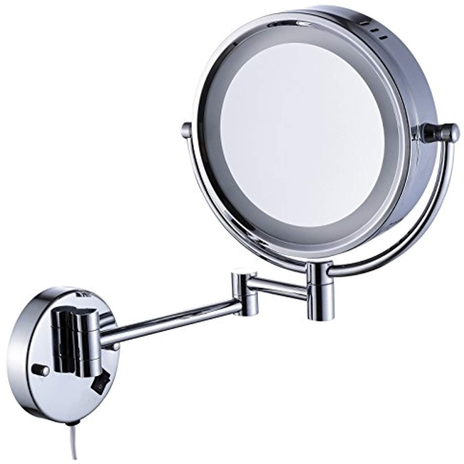 Cavoli Makeup Mirror With Led Lighted Wall Mounted 10x Magnification Chrome Finish 8 5 Inch 10x Too Mirror With Led Lights Wall Mounted Makeup Mirror Mirror