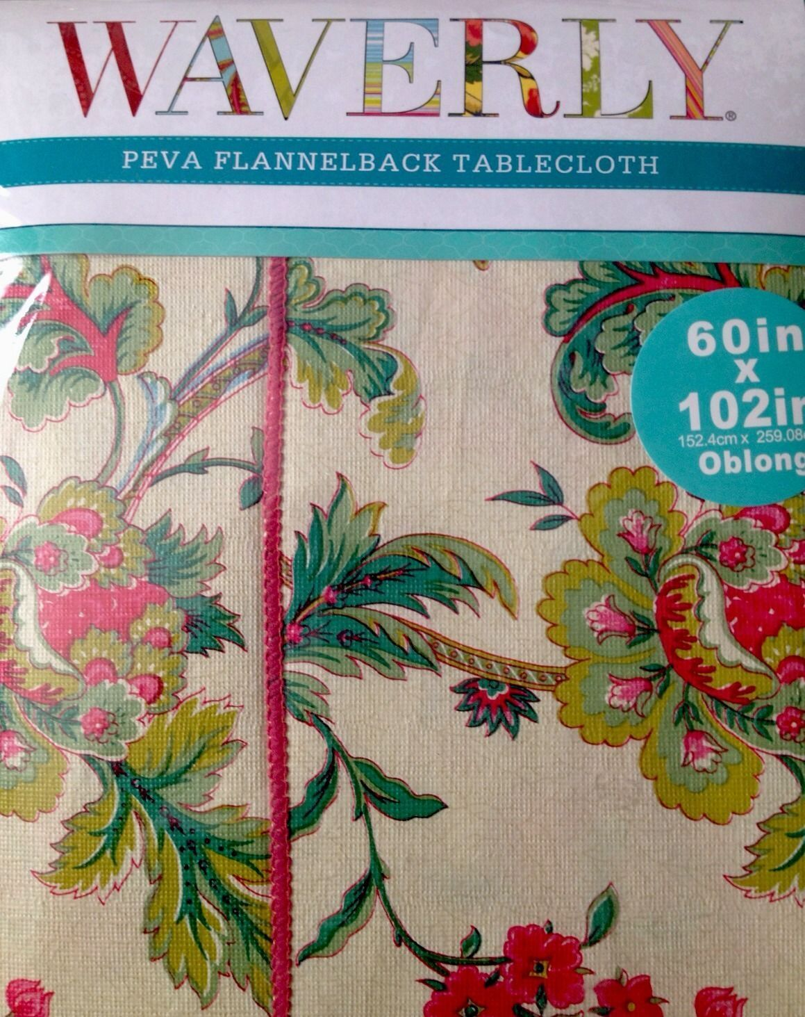 """WAVERLY PEVA Claremont Springs Tablecloth 60 x 102"""" Floral Vinyl Flannel back - Tablecloths"""