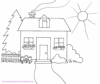 Aneka Gambar Mewarnai Gambar Mewarnai Rumah Untuk Anak Paud Dan Tk Pelajaran Menggambar Dan Mew Buku Gambar Kartun Warna